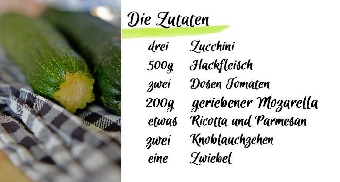 Food Zucchini Lasagne Zutaten