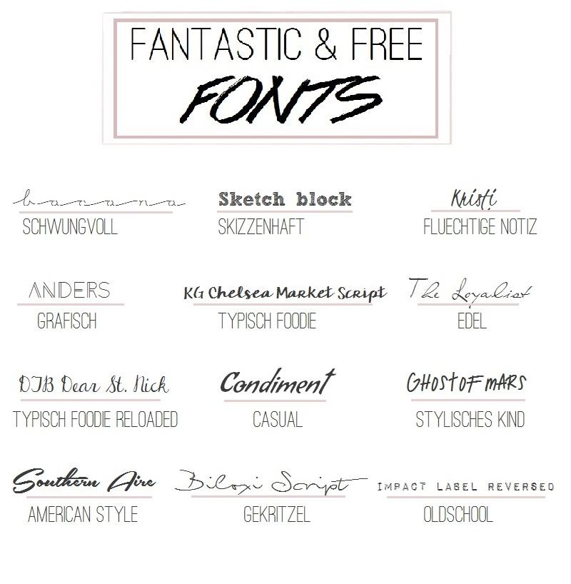 Fantastic & free fonts kostenlose Schriften für Blog Bilder