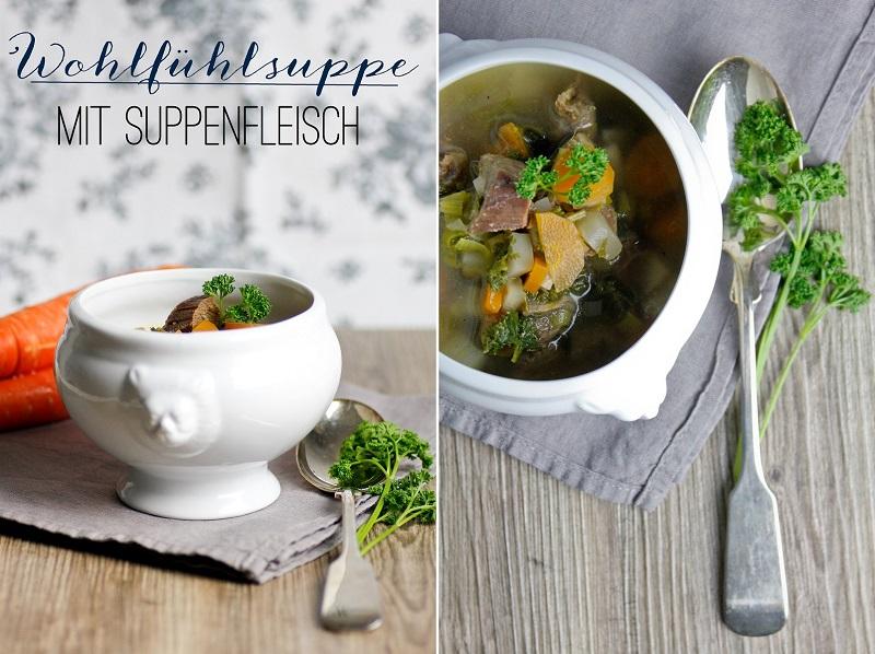 Gemüse-Suppe mit Suppenfleisch