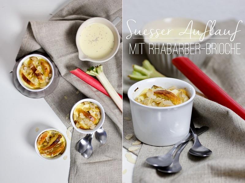 Rhabarber-Brioche-Auflauf Gratin mit Vanillesauce selbstgemacht