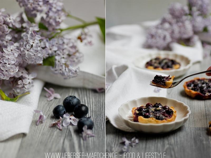 Blaubeer-Tartelettes in schönsten Fliedertönen