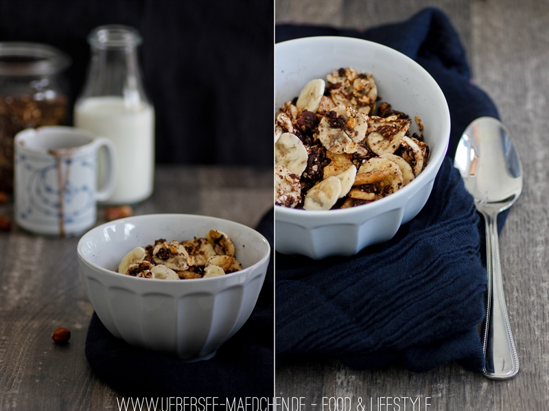 Granola mit einem Klecks Nutella, schokoladig zum Frühstück