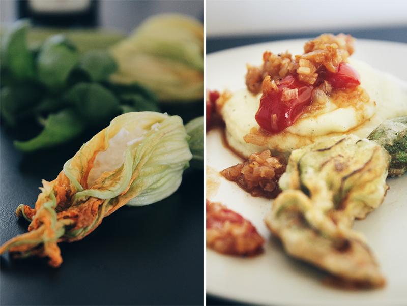 Basilikumkartoffelpürree mit Zucchiniblüte