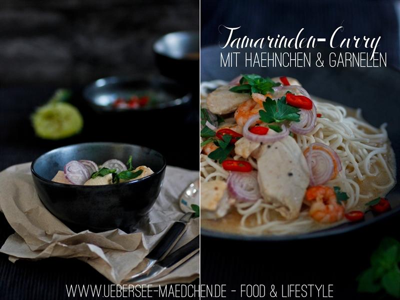 Tamarinden-Curry mit Hähnchen und Garnelen