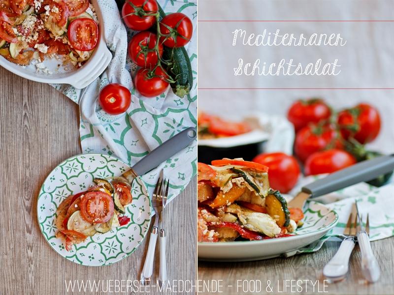 Mediterraner Schichtsalat für die Grillparty