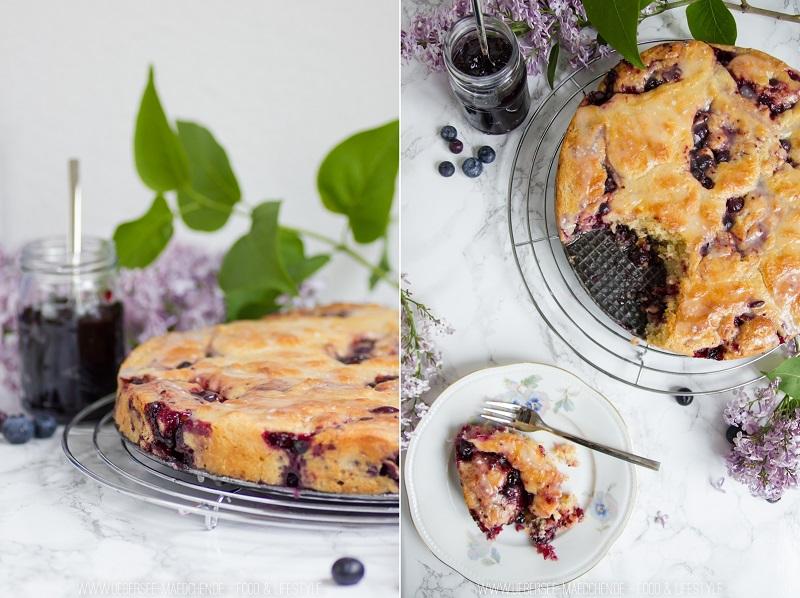 Rezept für Hefeschnecken-Kuchen mit Blaubeeren