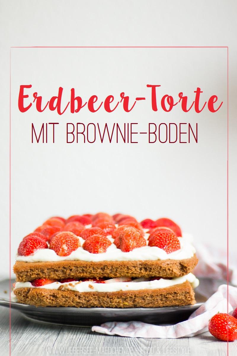 Rezept für Erdbeer-Torte mit Brownie-Boden