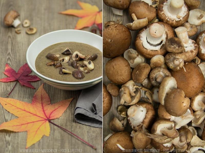 Rezept für vegane Pilzsuppe mit Champignons und Shitake