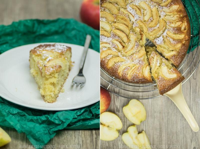 Rezept für einfacher Apfelkuchen mit Rührteig schnell gebacken mit Obst. Ein Beitrag vom ÜberSee-Mädchen, der Foodblog vom Bodensee