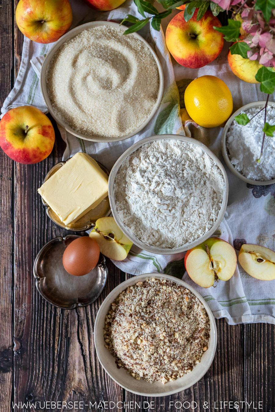 Zutaten für gedeckten Apfelkuchen mit Mürbeteig