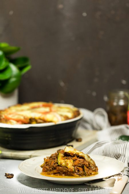 Zucchini-Lasagne mit Gemüse statt Nudeln low carb ohne Kohlenhydrate mit Bolognese-Sauce ÜberSee-Mädchen