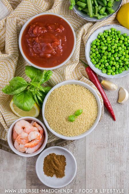 Zutaten für orientalisches Couscous nach Jamie Oliver mit Erbsen Bohnen Zimt Rezept von ÜberSee-Mädchen
