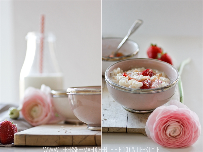 Spring Soulfood schnell selbstgemacht Milchreis mit Erdbeer-Rhabarber-Kompott süße Hauptspeise