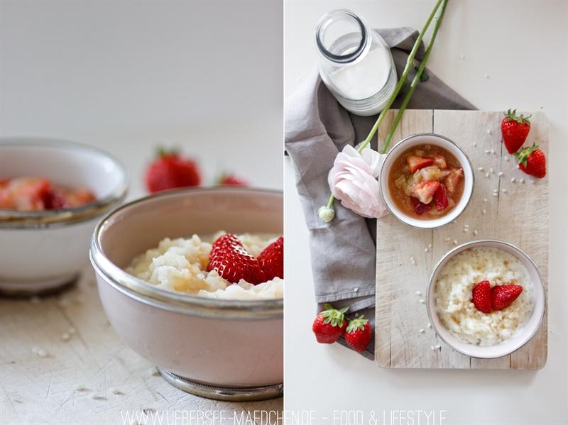 Holunderblüten-Milchreis mit vanilligem Erdbeer-Rhabarber-Kompott