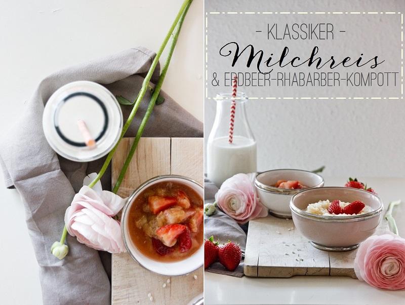 Milchreis mit vanilligem Erdbeer-Rhaberber-Kompott