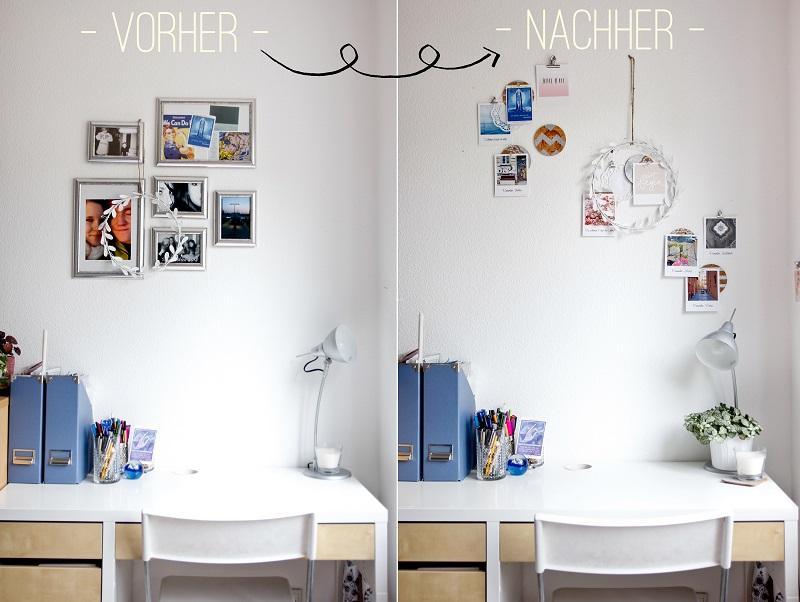 Workspace-Makeover vorher nachher Polaroid-Bilder