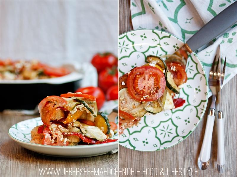 Mediterraner Schichtsalat mit Ciabatta, Zucchini, gegrillter Paprika und Käse