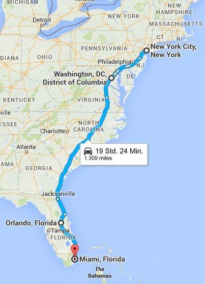 Die Route für Sommer 2016 in Amerika