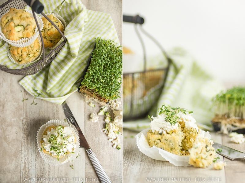 Rezept für herzhafte Muffins mit Zucchini und Feta
