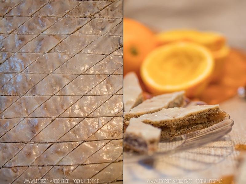Orangen-Mohn-Kacheln einfache Plätzchen mit drei Schichten