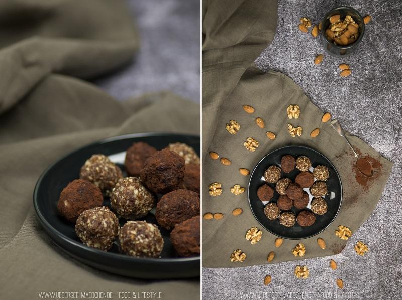 Nusskugeln aus Datteln, Nüssen und Kakao als Snack zum Mitnehmen