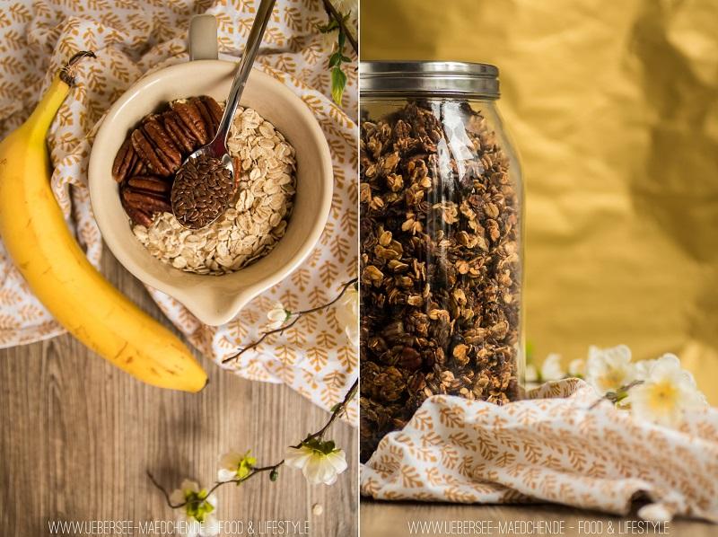 Rezept vom ÜberSee-Mädchen, der Foodblog vom Bodensee, für Bananen-Granola Resteverwertung Frühstück mal anders und gesund