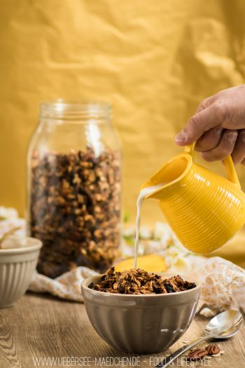 Rezept für Bananen-Granola Resteverwertung Banane Frühstück mal anders gesunde Haferflocken