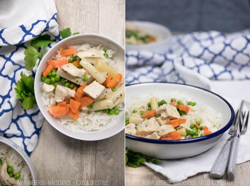 Hühnerfrikassee kochen wie bei Mama mit Hühnchen, Karotten und Erbsen Soulfood Hauptgericht