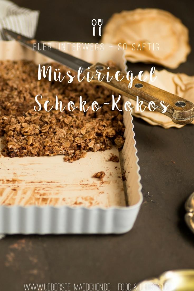 Rezept für Müsliriegel Schoko-Kokos schnell selbstgemacht für unterwegs vom ÜberSee-Mädchen Foodblog vom Bodensee Überlingen