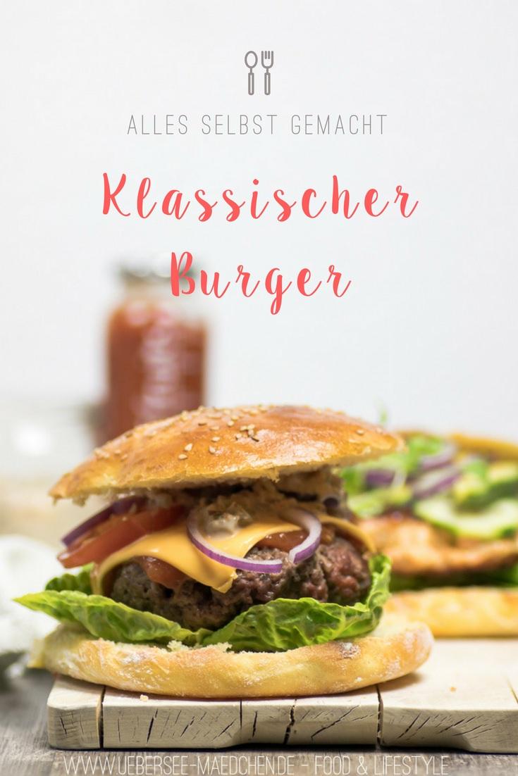 Klassischer Cheeseburger mit Hackfleisch-Patty, selbstgemachtem Brötchen und Burgersauce von ÜberSee-Mädchen Foodblog vom Bodensee Überlingen