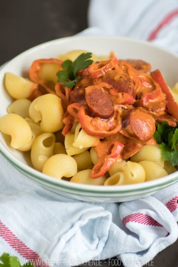 Pasta mit Chorizo-Sauce mit Tomaten in 15 Minuten fertig Rezept vom ÜberSee-Mädchen Foodblog vom Bodensee Überlingen