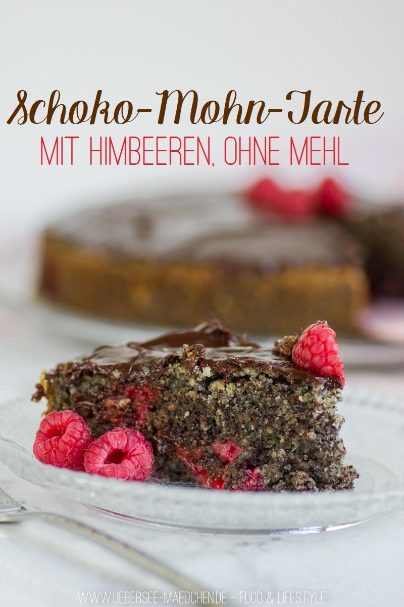 Schoko-Mohn-Kuchen ohne Mehl mit Himbeeren Rezept zum Muttertag von ÜberSee-Mädchen der Foodblog vom Bodensee Überlingen