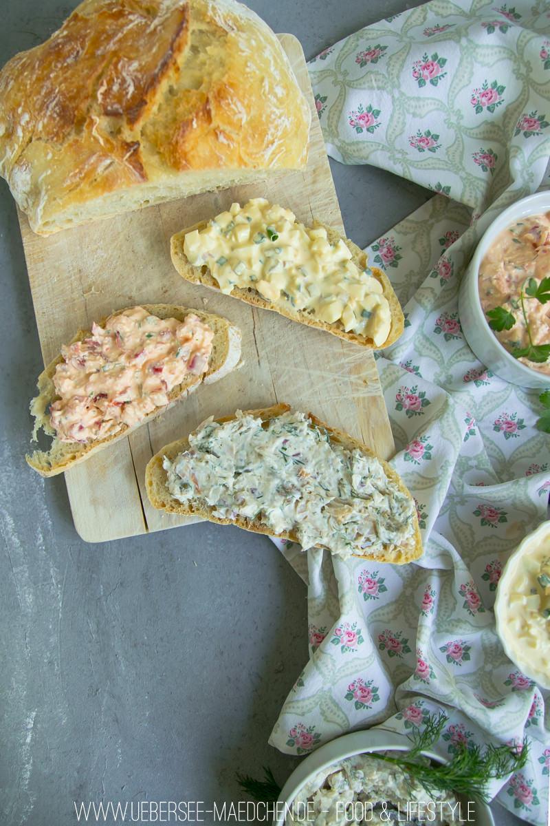 Dreierlei Aufstrich Forellenaufstrich Feta-Paprika-Aufstrich Eiersalat von ÜberSee-Mädchen Foodblog vom Bodensee Überlingen
