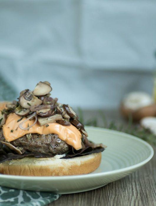 Waldlust-Burger mit Pilzen Champignons und Kapern Burger mal anders Rezept von ÜberSee-Mädchen Foodblog aus Überlingen Bodensee