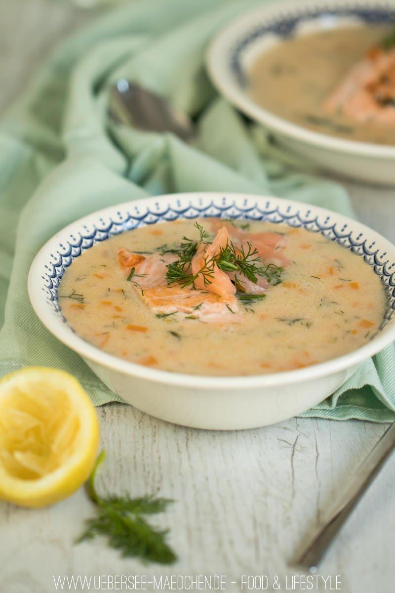 Cremige Fischsuppe Lachssuppe mit Lachsforelle leichte cremige Suppe Vorspeise von ÜberSee-Mädchen Foodblog vom Bodensee Überlingen