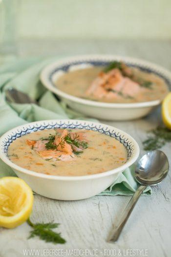 Lachssuppe mit Lachsforelle leichte cremige Suppe Vorspeise von ÜberSee-Mädchen Foodblog vom Bodensee Überlingen