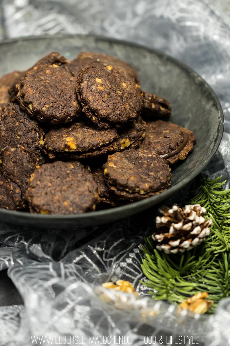 Schoko-Walnuss-Plätzchen mit Ganache von ÜberSee-Mädchen Foodblog Bodensee Überlingen