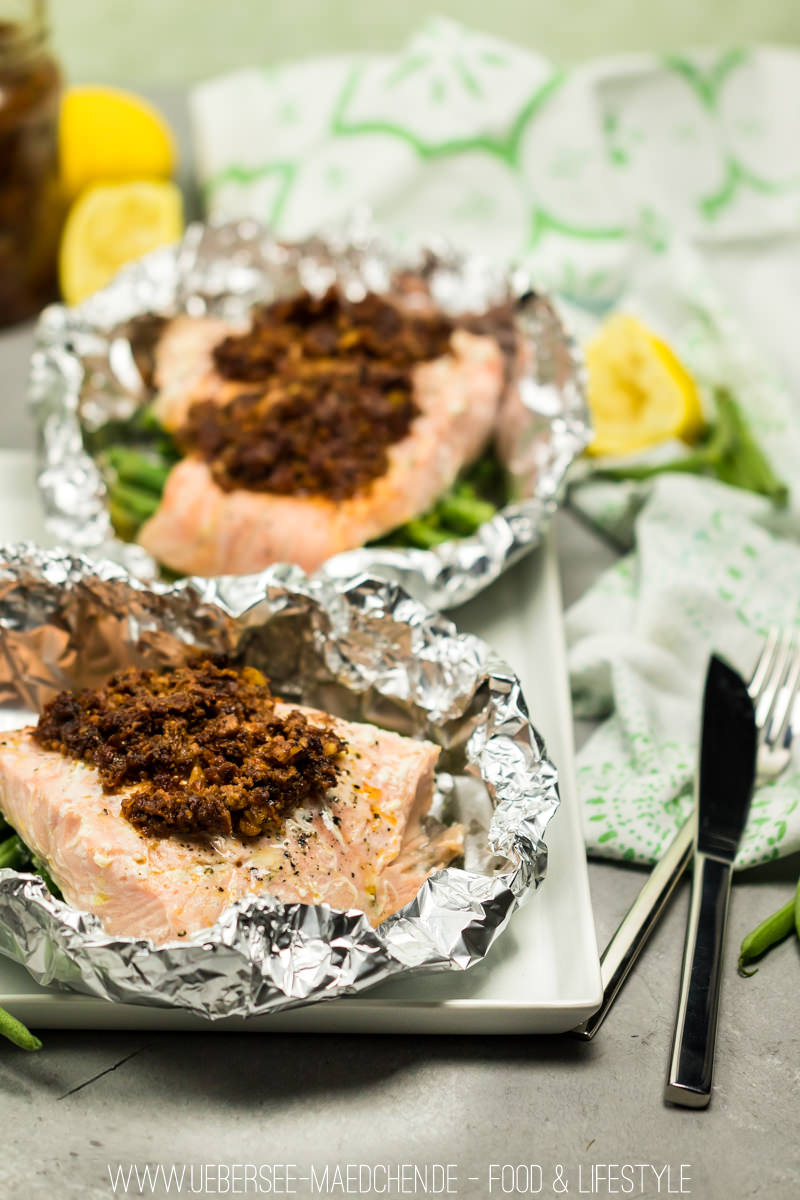 Lachspäckchen mit Pesto und Bohnen nach Jamie Oliver aus dem Ofen Rezept von ÜberSee-Mädchen Foodblog vom Bodensee Überlingen