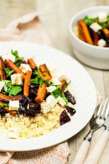 Couscous mit glasierter Roter Beete, Karotten, Feta und Petersilie einfaches Ofengericht Rezept von ÜberSee-Mädchen Foodblog vom Bodensee Überlingen