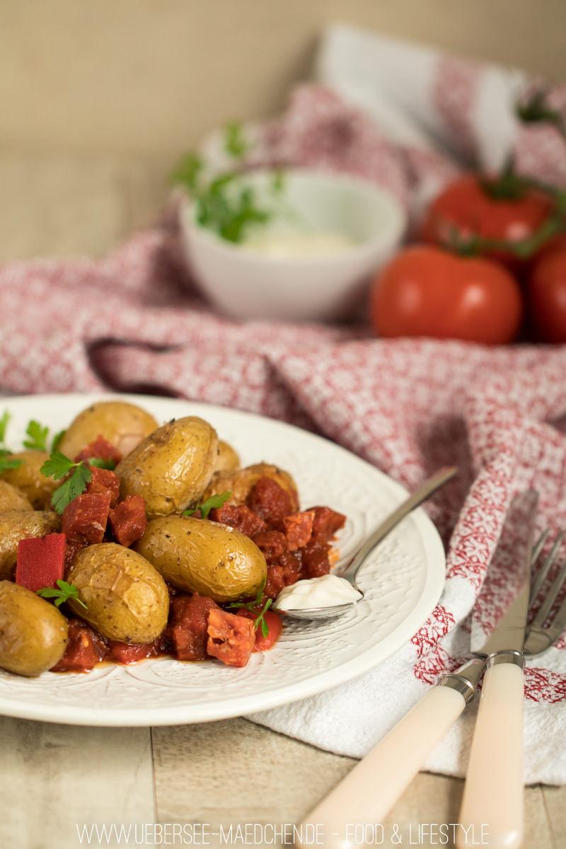 Kartoffeln mit Chorizo-Paprika-Sauce schnelles Abendessen von ÜberSee-Mädchen Foodblog vom Bodensee Überlingen