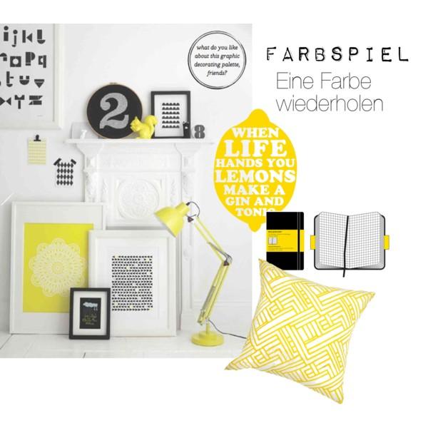 Ein Arbeitsplatz gestaltet mit gelber Farbe in Form von Kissen und Bildern