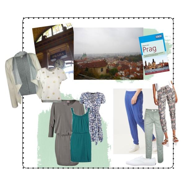 Eine Zusammenstellung von Dingen für Prag: Leichte Sommerkleidung und Reiseführer