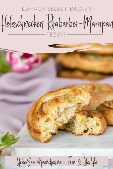 Hefeschnecken mit Rhabarber und Marzipan Querschnitt Anschnitt auf Marmorbrett Rezept von ÜberSee-Mädchen Foodblog Bodensee