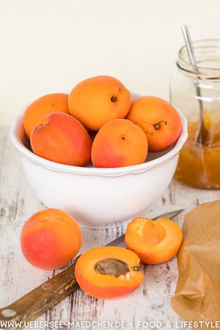 Schale mit Aprikosen für Aprikosentarte Rezept mit Mürbeteig Creme fraiche Konfitüre nach Nicole Stich Reisehunger