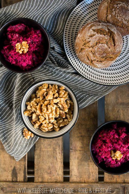 Rote Bete Aufstrich mit Feta Schafskäse roter Bete Rezept ÜberSee-Mädchen der Foodblog vom Bodensee Überlingen