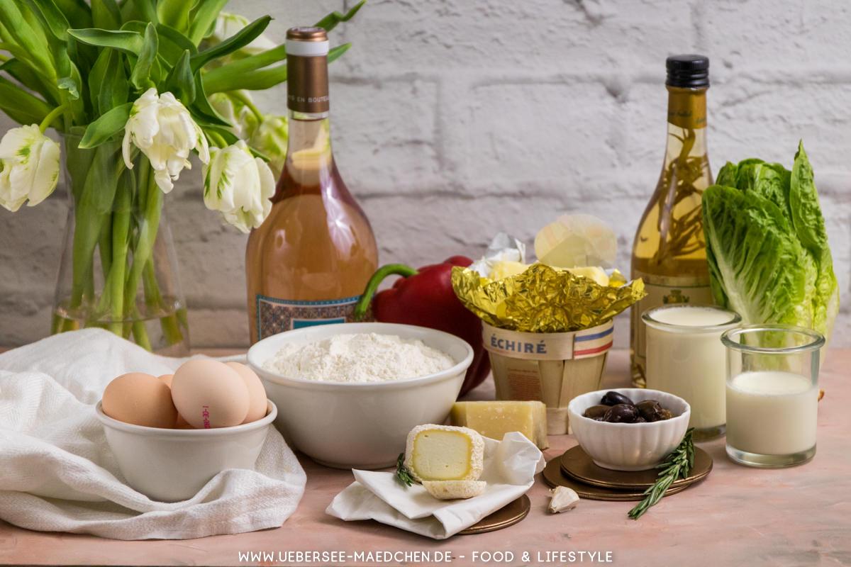 Zutaten für französische Ziegenkäsetartelettes