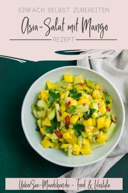 Asia-Salat mit Mango, ein süß-saures asiatisches Rezept mit Gurke Avocado Minze Chili Fischsauce von ÜberSee-Mädchen Foodblog vom Bodensee Konstanz