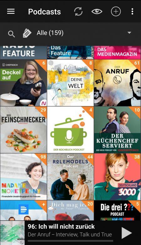 Podcast-Empfehlungen für Menschen um die 30: Podcast Addict Ansicht welchen Podcasts ich folge