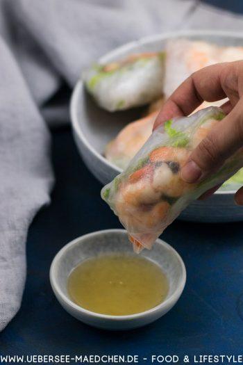 Summer rolls wie in Vietnam mit Garnele Gemüse Fischsaucen-Dip Rezept von ÜberSee-Mädchen der Foodblog vom Bodensee