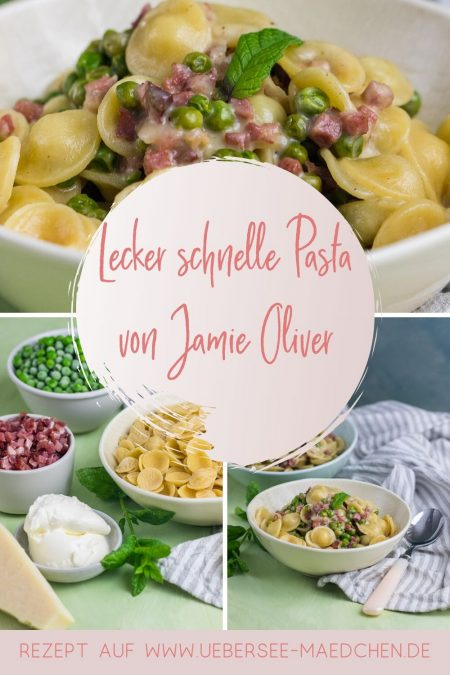 Schnelle Feierabend Pasta mit Speck Parmesan Erbsen nach Jamie Oliver Rezept von ÜberSee-Mädchen Foodblog vom Bodensee